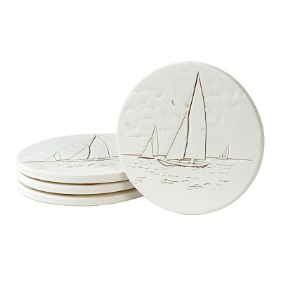 Absorbent Sailboat Coasters, Set of 4