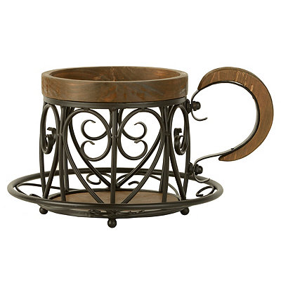 Metal and Wood Giant Teacup Basket