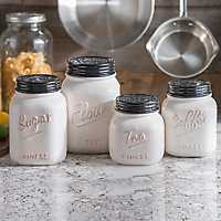 Set of 4 Ivory and Black Kitchen Canisters