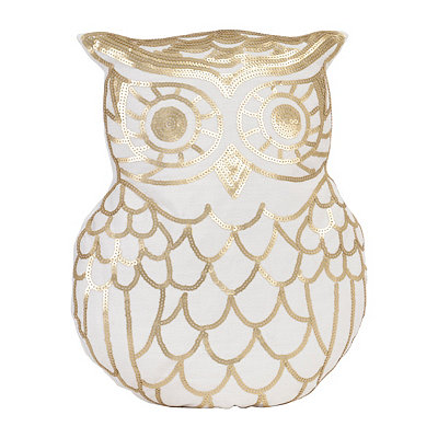 Marvin Gold Sequin Owl Pillow