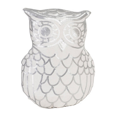 Marvin Silver Sequin Owl Pillow