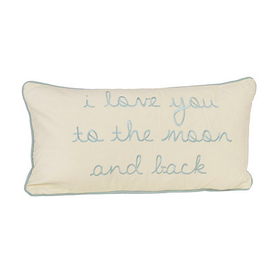 Blue Love You to the Moon Pillow