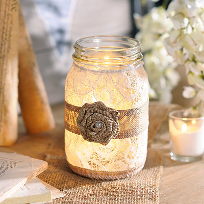 Lace with Burlap Rose Mason Jar Night Light