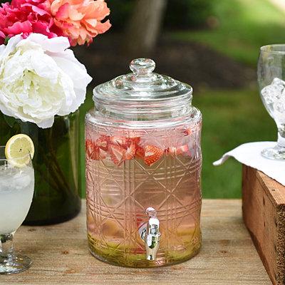 Wicker Glass Beverage Dispenser