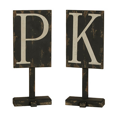 Distressed Black Monogram Finial Statue