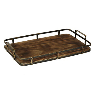 Aged Wood and Metal Tray