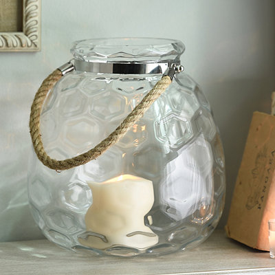 Clear Honeycomb Glass Lantern