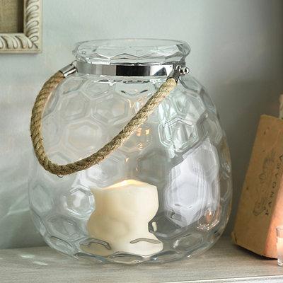Clear Honeycomb Glass Lantern