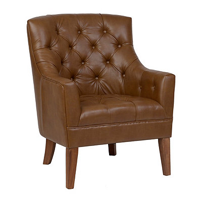 Brown Faux Leather Winston Arm Chair
