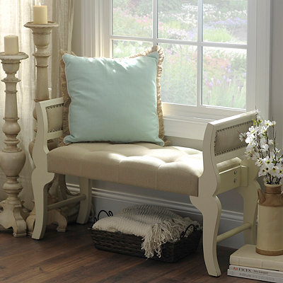 Cream and Linen Sleigh Bench