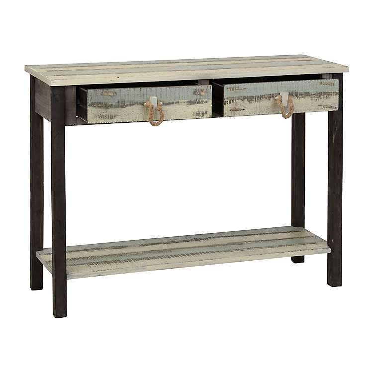 Coastal weathered 2 drawer console table kirklands for Sofa table kirklands