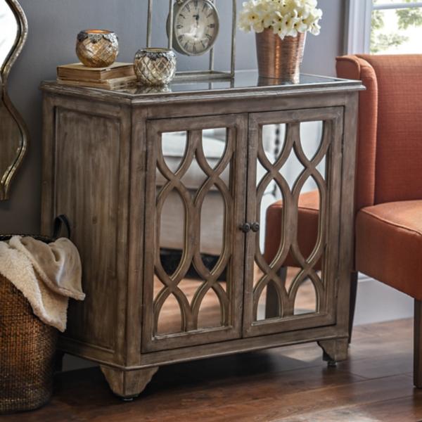 . Lillian Weathered Mirrored Cabinet   Kirklands