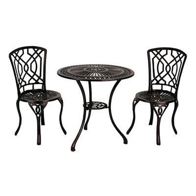 Geometric Bronze Cast Iron Bistro Set