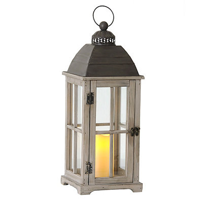Natural Wood LED Lantern