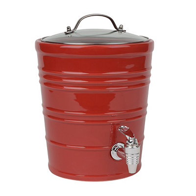 Red Ceramic Bucket Beverage Dispenser