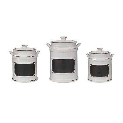 Vintage White Chalkboard Canisters, Set of 3