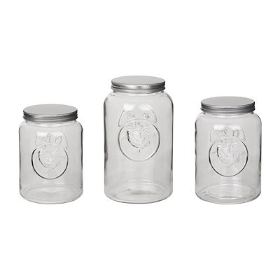 Glass Rooster Canisters, Set of 3