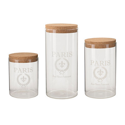 Clear Glass Paris Canisters, Set of 3