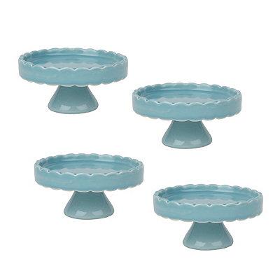 Blue Scalloped Cupcake Pedestal Plates, Set of 4