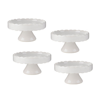 White Scalloped Cupcake Pedestal Plates, Set of 4