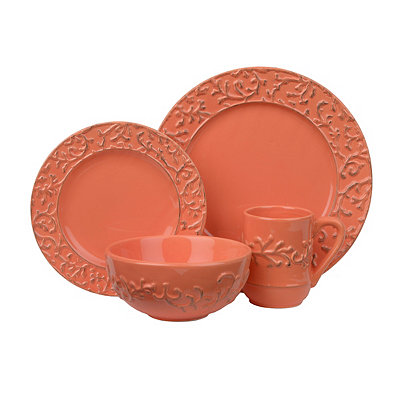 Waverly Savoy Coral 16-pc. Dinnerware Set