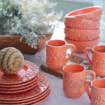 Waverly Savoy Coral 16-pc. Dinnerware Set