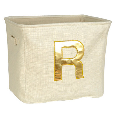 Ivory and Gold Monogram Storage Bin
