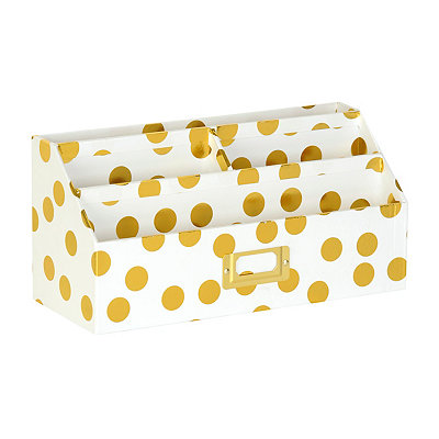 Gold Dots Desk Organizer
