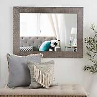 Metallic Silver Blocks Framed Mirror, 32x44 in.