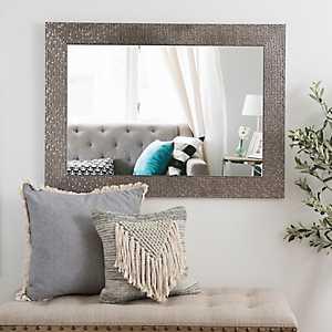 Metallic Silver Blocks Framed Mirror, 32x44 in.