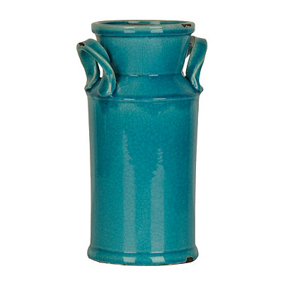 Distressed Turquoise Ceramic Urn, 12 in.