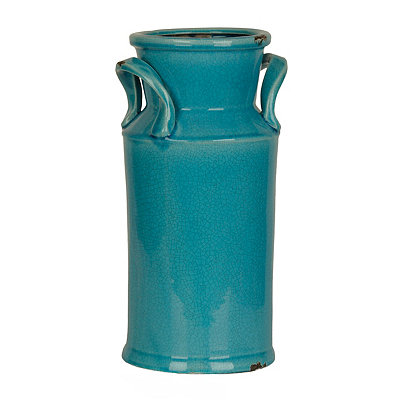 Distressed Turquoise Ceramic Urn, 16 in.