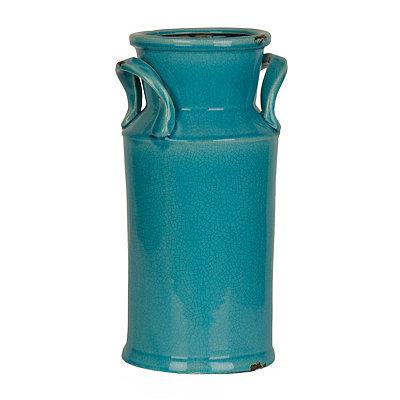 Distressed Turquoise Ceramic Urn, 16 in.