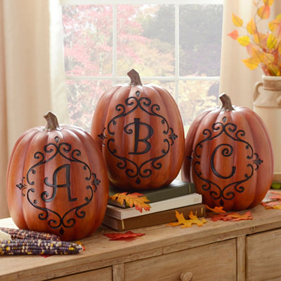 Orange and Black Monogram Pumpkin