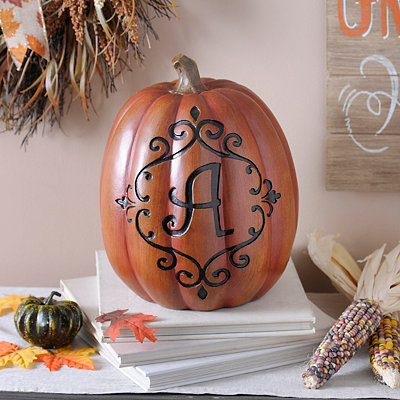 Orange & Black Monogram A Pumpkin