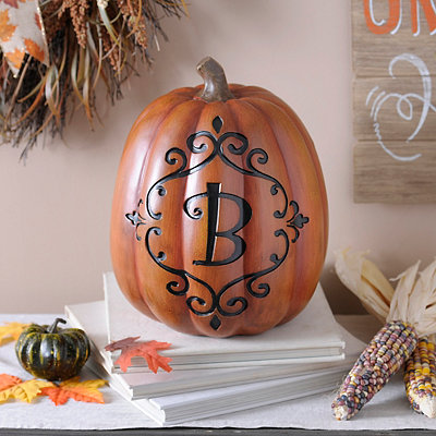 Orange & Black Monogram B Pumpkin