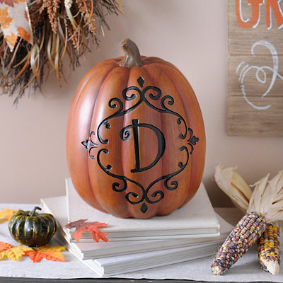 Orange & Black Monogram D Pumpkin