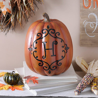 Orange & Black Monogram H Pumpkin