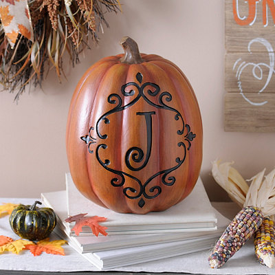 Orange & Black Monogram J Pumpkin
