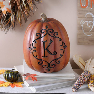 Orange & Black Monogram K Pumpkin