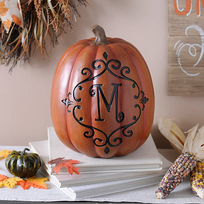 Orange & Black Monogram M Pumpkin