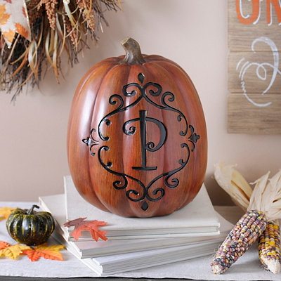 Orange & Black Monogram P Pumpkin