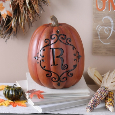 Orange & Black Monogram R Pumpkin