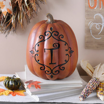 Orange & Black Monogram T Pumpkin