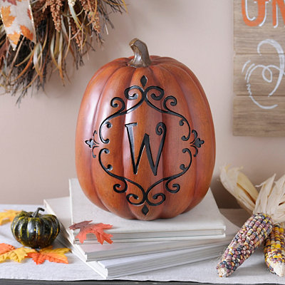 Orange & Black Monogram W Pumpkin