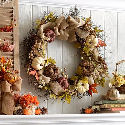 Rattan Pumpkin Wreath