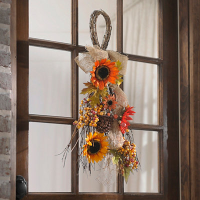 Sunflower & Berry Burlap Teardrop Wreath