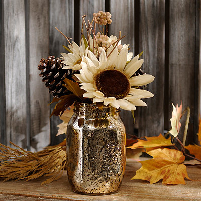 Sunflower Arrangement in Mason Jar Vase