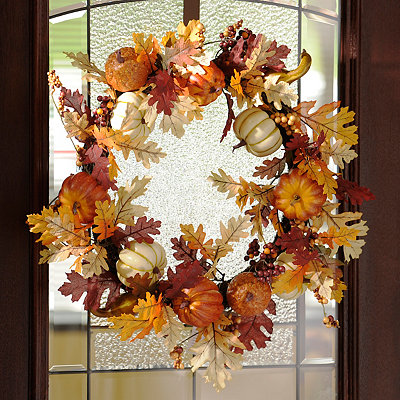 Pumpkin & Leaf Wreath