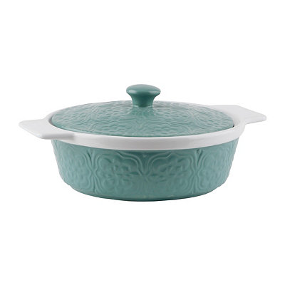 Embossed Turquoise & White Covered Casserole Dish